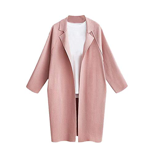 Sunmoot Trench Coat Women's Long Sleeve Loose Solid Lapel Cardigan Duster Tops