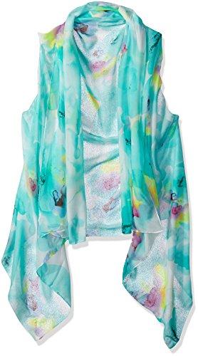 Fabulous Sheer - Alora Accents Sheer Designer Vest, Mint Green Floral, One Size