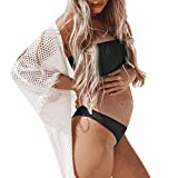 Hot Maternity Plus Size Bikini Women Tube top Bathing Suit Nursing Solid Color Swimsuit Beachwear Pregnant (M-3XL) (Black, XL)