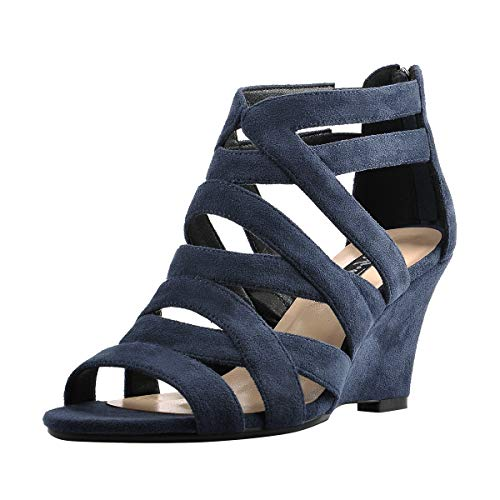 Onlymaker Women's Gladiator Cut Out Wedge Sandals Sexy Peep Toe Heeled Casual Party Dress Shoes Blue 7 M US (Blue Dress Sandals)