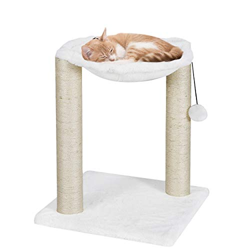 BBBuy 20 Inch Pet Cat Tree Scratching Post and Hammock, Plush Cat Furniture Bed