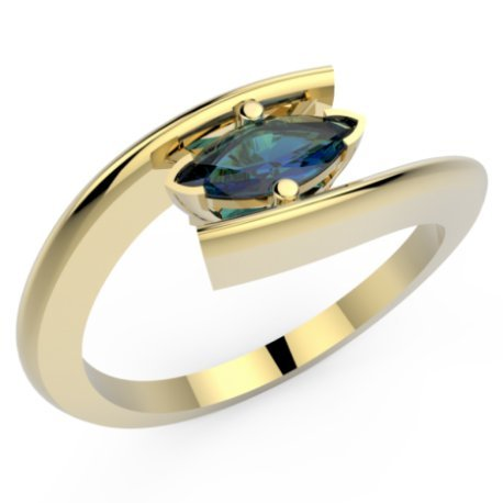 HABY MARQUISE Bagues Or Jaune 18 carats Saphir Bleu 0,6 Marquise