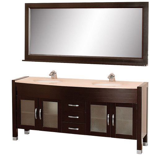 Wyndham Collection Daytona 71 inch Double Bathroom Vanity in Espresso, Ivory Marble Countertop, White Porcelain Undermount Sinks, and 70 inch Mirror (Ivory Bathroom Vanity)