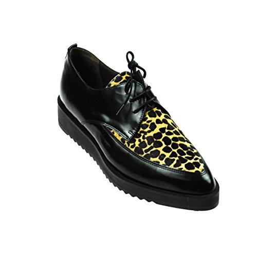Perlato Damen Halbschuh Leder Schwarz mit Leoparden Muster