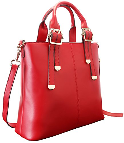 1b33e3fdbf Heshe New Genuine Leather Office Lady Simple Style Fashion Top Handle Tote  Shoulder Crossbody Bag Satchel Purse Women s Handbag (Red) - Buy Online in  Oman.