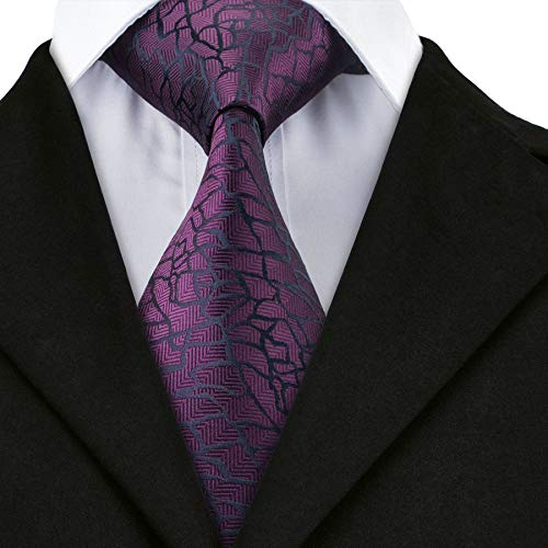 Mens Extra Long Tie Set Shinning Red Black Paisley Silk Woven Necktie Pocket Square Cufflinks Mens Necktie Set