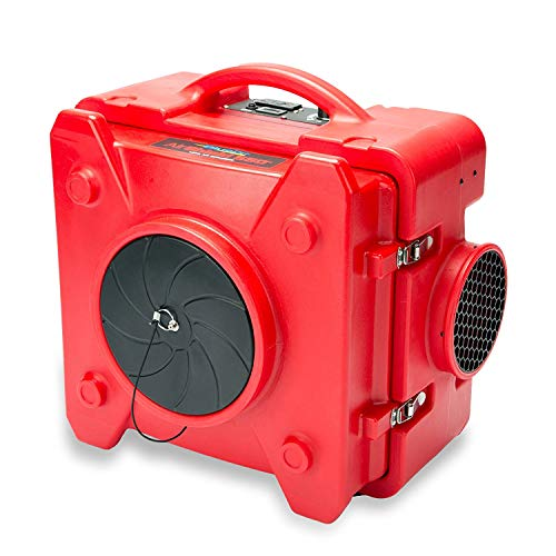 (BlueDri AS-550 Industrial Commercial HEPA Air Purifier, Negative Air Machine Air Scrubber, Red)