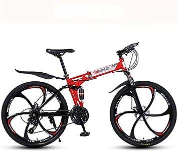 GASLIKE Bicicleta de montaña Plegable Bicicleta para Adultos, Cuadro de Acero con Alto Contenido de Carbono, Horquilla de suspensión de Resorte, Freno de Doble Disco, Pedales de PVC: Amazon.es: Deportes y aire