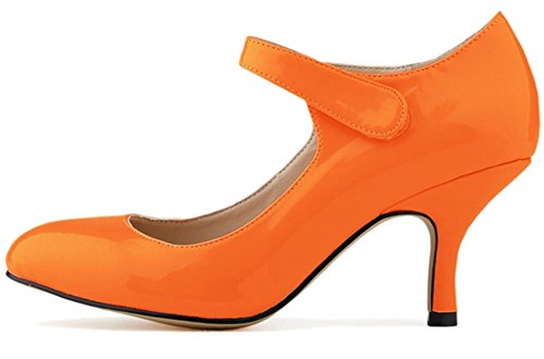 Fangsto Women's Leather High-Heeled Pumps Classic Mary Jane Court Shoes Orange