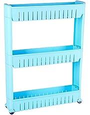 3-Tier Gap Storage Slim Slide Out Storage Tower Rack Shelf with Wheels for Home Kitchen(Blue)