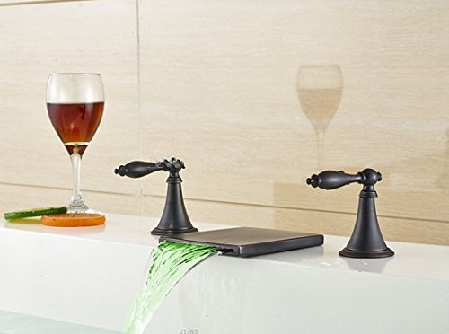 GOWE LED Oil Rubbed Bronze Waterfall Bathroom Basin Faucet Dual Handles Sink Mixer 0