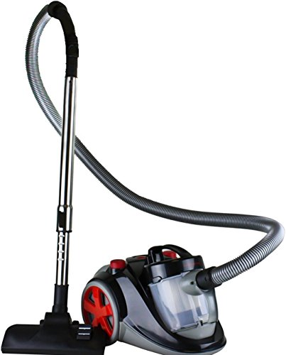 Ovente Bagless Canister Cyclonic Vacuum with HEPA Filter, Comes with Telescopic Wand, Combination Bristle Brush/Crevice Nozzle and Retractable Cord, Featherlite, Corded (ST2000)