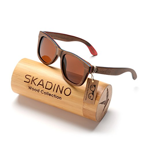 SKADINO Wayfarer Maple Wood Sunglasses with Polarized Lenses-Handmade Floating Skateboard Wooden Shades for Men & Women-Brown