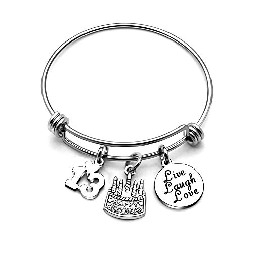 AGR8T Bangle Bracelets Gifts for Her Happy Birthday Bangles Cake Live Laugh Love Charms Women Girl (13th -
