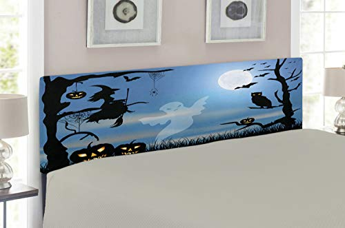 Lunarable Halloween Headboard for Full Size Bed, Ghost Witch Owl Spider Web Bats Trees Fantastic Grange Forest at Night, Upholstered Decorative Metal Headboard with Memory Foam, Blue Black White