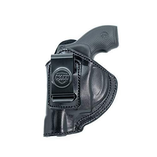 Maxx Carry Inside The Pants Waistband Leather Holster for S&W Bodyguard 38 with Laser. IWB Holster with Clip Conceal Carry. Black Left Hand.