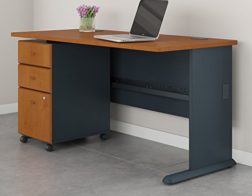 Bush Business Furniture Series A 60W Desk with Mobile File Cabinet in Natural Cherry and Slate ()