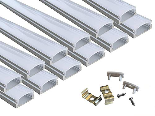 Muzata 12-Pack 3.3ft/1Meter 9x17mm U Shape LED Aluminum Channel System with Cover, End Caps and Mounting Clips Aluminum Profile for LED Strip Light Installations, Led Lights Diffuser Segments
