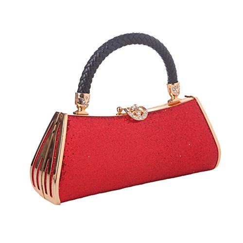 Anday para mujer bolso de mano de cristal de metal sólido noche novia embrague, Red (rojo) - BK74-3 Red