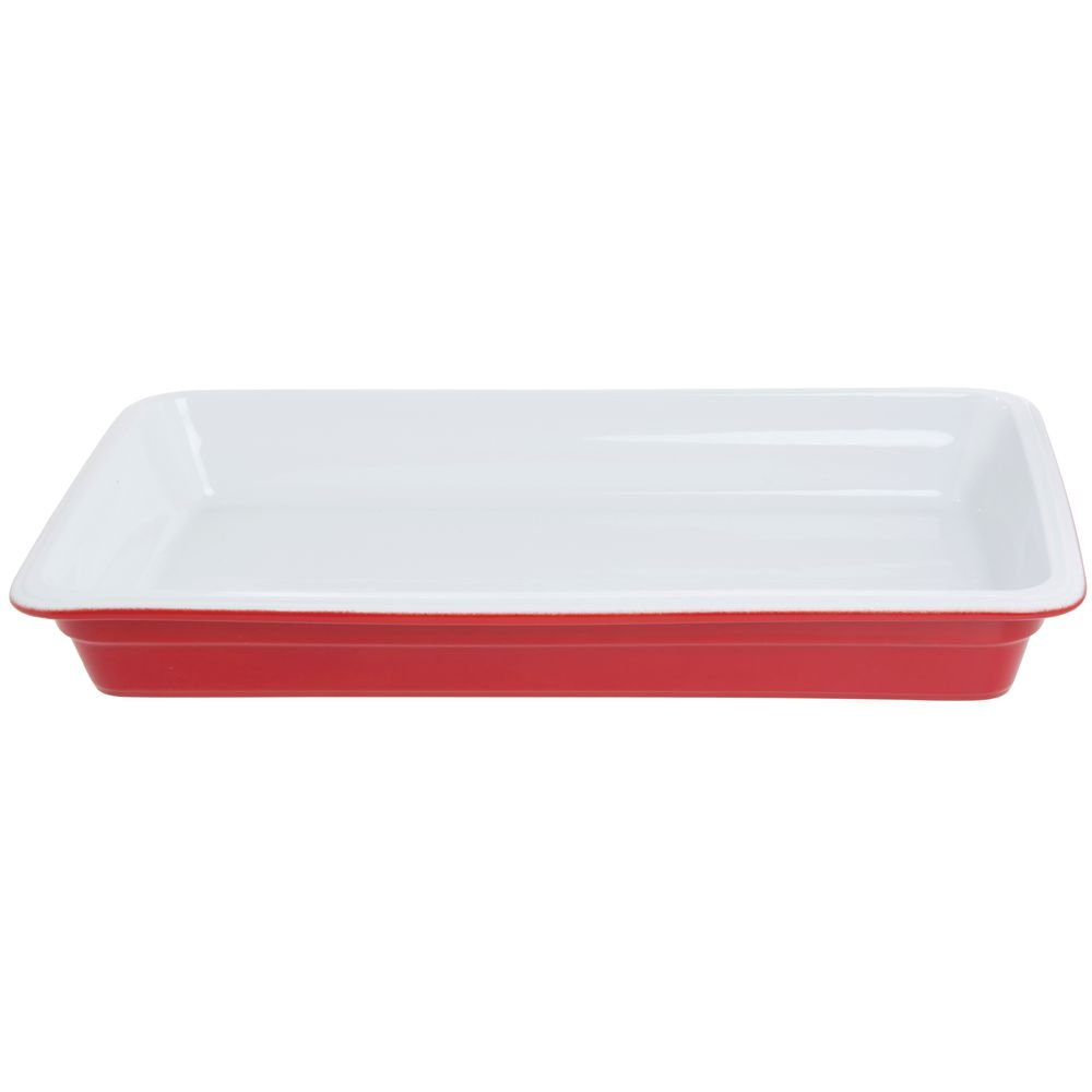 World Cuisine 44342R06 Porcelain Induction Hotel Pan, Large, Red