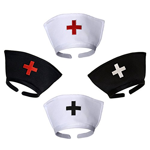 White Nurse Hat Headband with Red Cross - Halloween Costume Accessory - http://coolthings.us