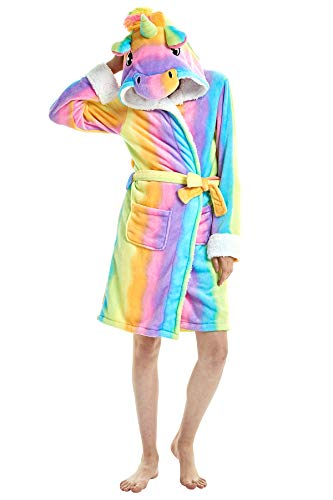 JOXJOZ Women's & Men Unicorn Hooded Bathrobe Soft Fleece Sleepwear Loungewear Cosplay Costume Pajamas Unisex Robes Gifts (Rainbow, M(Suggested Height 5'0
