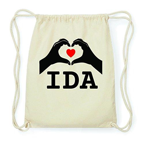 JOllify IDA Hipster Turnbeutel Tasche Rucksack aus Baumwolle - Farbe: natur Design: Hände Herz jVEcPkrK