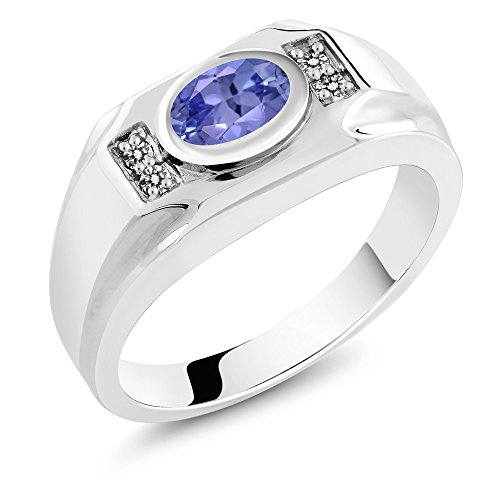 1.29 Ct Oval Diamond (1.29 Ct Oval Blue Tanzanite White Diamond 925 Sterling Silver Men's Ring)