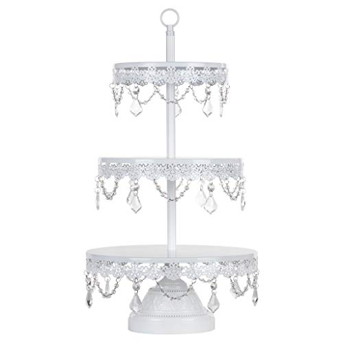 Amalfi Décor 3 Tier Dessert Cupcake Stand, Modern Glass Crystal Draped Metal Display Tower for Weddings Events Birthdays Party Plate Pedestal, Sophia Collection (White)