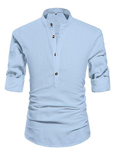NITAGUT Men Henley Neck Long Sleeve Daily Look Linen Shirts Light Blue-US - Shirt Linen Big