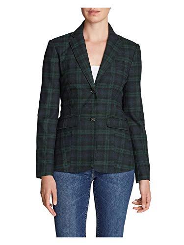 (Eddie Bauer Women's Classic Wool-Blend Blazer - Pattern, Juniper Regular 18)