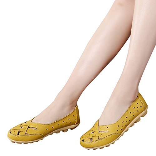 - Pandaie Womens ... Sandals Women's Shoes Lady Flats Sandals Leather Ankle Casual Slipper Soft Shoes Yellow