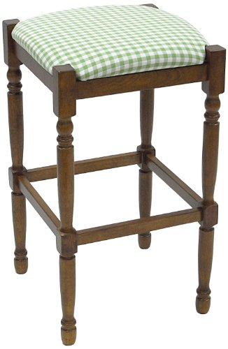 Carolina Cottage 2663=WAL-GC Green and White Check, 30-Inch Walnut Hawthorne Upholstered Bar Stool