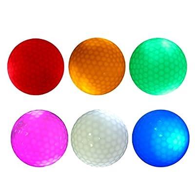 Dovewill Set of 6 Night LED Light Up Golf Balls Standard Balls 42.6mm - Durable and Elastic 2 Layer Golf Balls