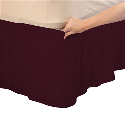 Relaxare Twin XXL 400TC 100% Egyptian Cotton Wine Solid 1PCs Wrap Around Bedskirt Solid (Drop Length: 30 inches) - Ultra Soft Breathable Premium Fabric