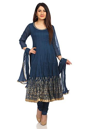 BIBA Women's Blue Cotton Salwar Kameez Dupatta Size 40 ()