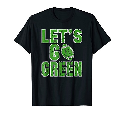 Mens Let's Go Green T-Shirt Distressed High School Football Tee XL Black