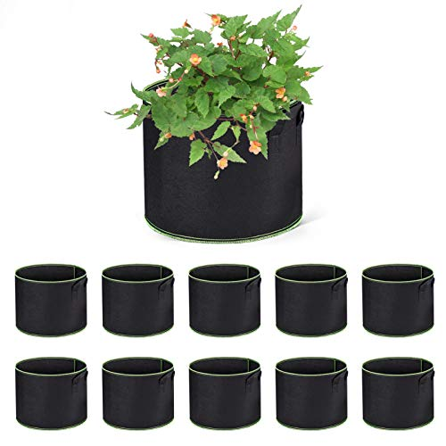 WOHOUS 10 Pack 5 Gallon Grow Bags Heavy Duty Aeration Fabric Pots Thickened Nonwoven Fabric Pots for Vegetables Plant…