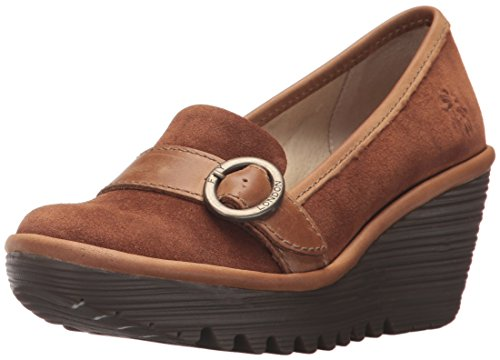 FLY London Women's YOND771FLY Loafer, Camel Oil Suede/Rug, 39 M EU (8-8.5 US) by FLY London