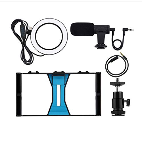 Sodoop Handheld Camera Stand, Mobile Video Recording Live Rabbit Cage Ring Fill Light Cold Boot Adapter Bracket Set+4.6 inch Ring Flash LED Lamp +Microphone