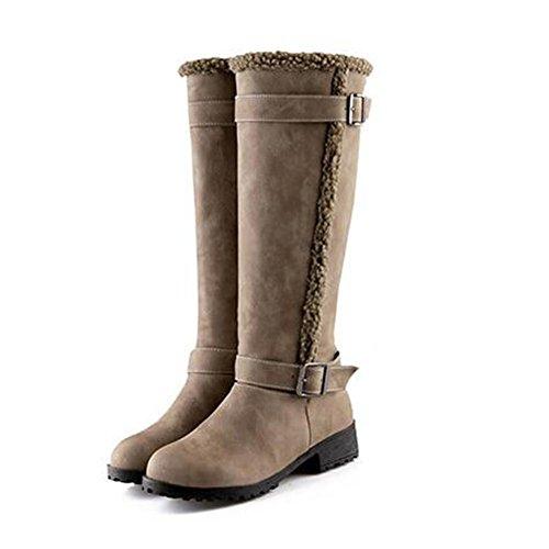 invierno mujer espesamiento 36 Moda KHAKI de 34 NSXZ botas altas Scrub black qEwtIAA