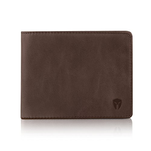 2 ID Window RFID Wallet for Men, Bifold Top Flip, Extra Capacity Travel Wallet (Texas Brown - Distressed Leather, Medium) ()