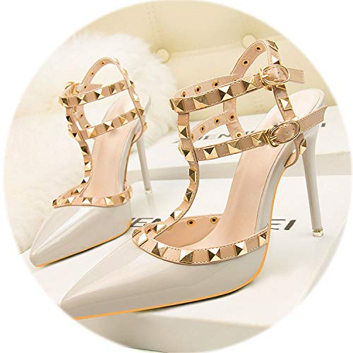 (AMAZING AMAZING 2019 New Rivet Double Buckle Fashion Women Sandals High Heels Pointed Cut-Outs Party)