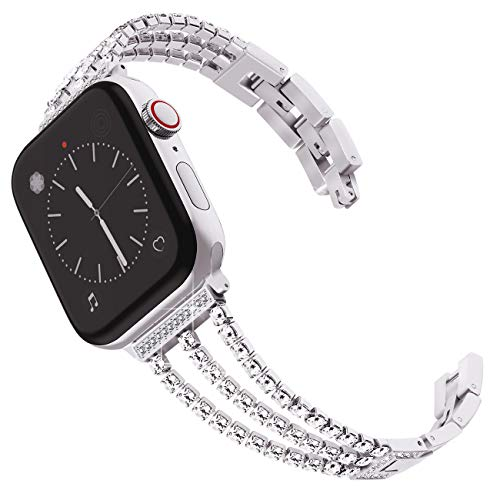 Surace Metal Band Compatible for Apple Watch Band 38mm 40mm Stainless Steel Band for Women Wristband Strap Cuff Bangle Bracelet with Diamond Replacement for iWatch Series 4 Series 3 Silver ()