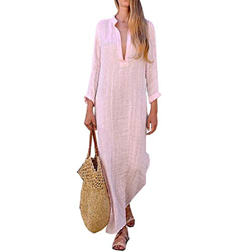 - OTINICE Women Long Sleeve Casual Loose Dresses V-Neck Linen Maxi Beach Long Dresses Pink
