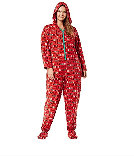 lus Size Snuggle Up Hooded Footed Jumpsuit Pajama 3X Red ()