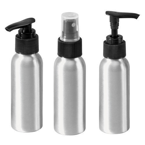 Aluminum Travel Bottle (InterDesign Metro Rustproof Aluminum Spray Bottle & Soap/Lotion Dispenser Pumps - Set of 3, Aluminum)