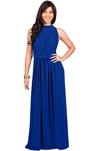(KOH KOH Womens Long Sexy Sleeveless Bridesmaid Halter Neck Wedding Party Guest Summer Flowy Casual Brides Formal Evening A-line Gown Gowns Maxi Dress Dresses, Cobalt/Royal Blue L 12-14)