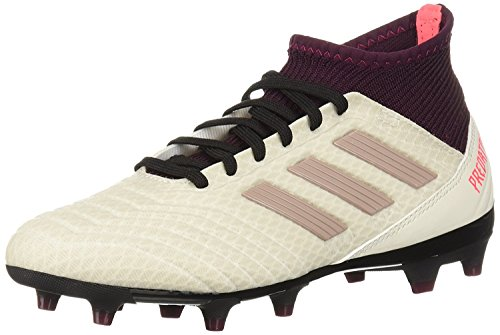 adidas Women's Predator 18.3 Firm Ground Soccer Shoe, Talc/Vapour Grey/Maroon, 6 M