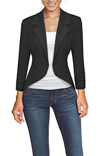 (Womens Casual Work High Low Blazer Jacket JK45590X 1073T Charcoal 1X)